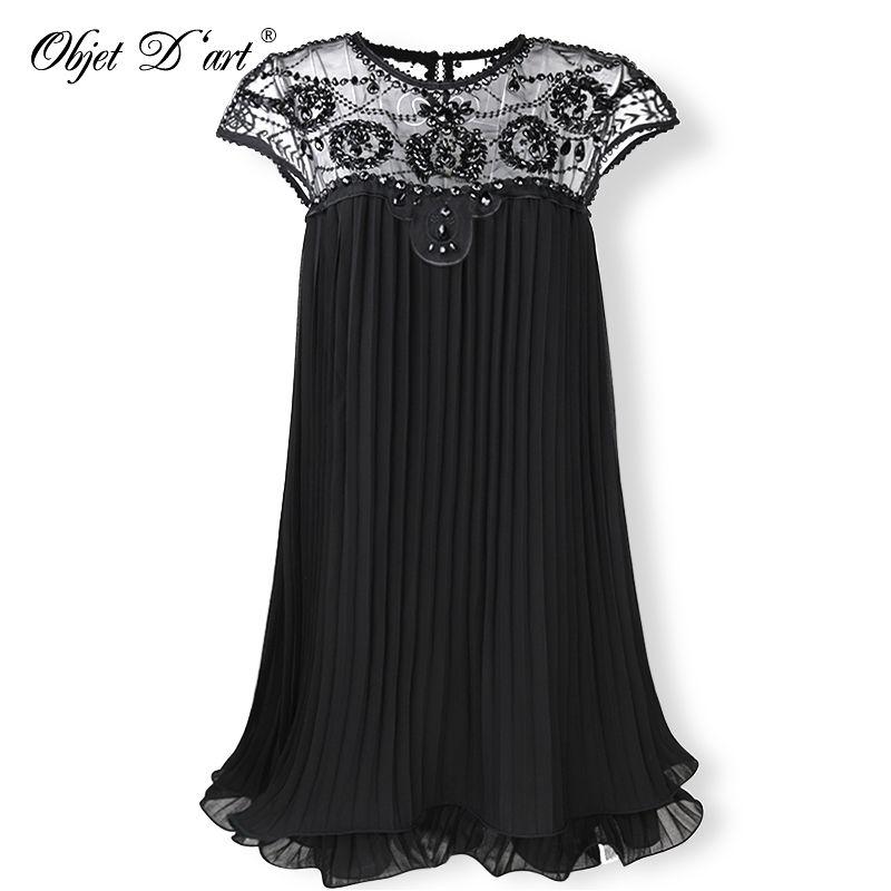2018 Beige Party Dresses Embroidery Lace Pleated Women Dress Sweet Mini Short Chiffon Dress Gift Female Vestidos for <font><b>Wedding</b></font>