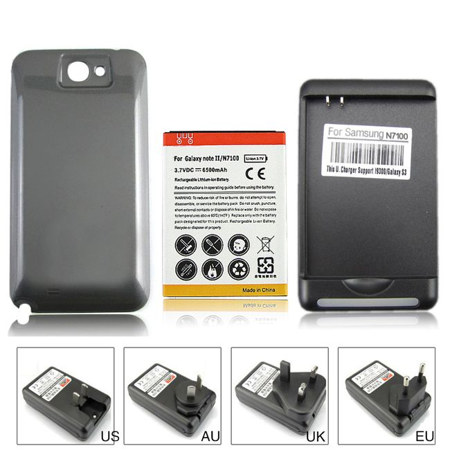 100% Guaranteed 6500mAh Extended Replacement Battery + Black Back Case +Wall Charger for Samsung Galaxy note 2 N7100