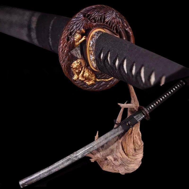 Wertvolle katana T10 verbrannt kanten hand boden Damaskus stahl Holz paket perle haut Luxus geschenke wohnkultur sammlerstücke