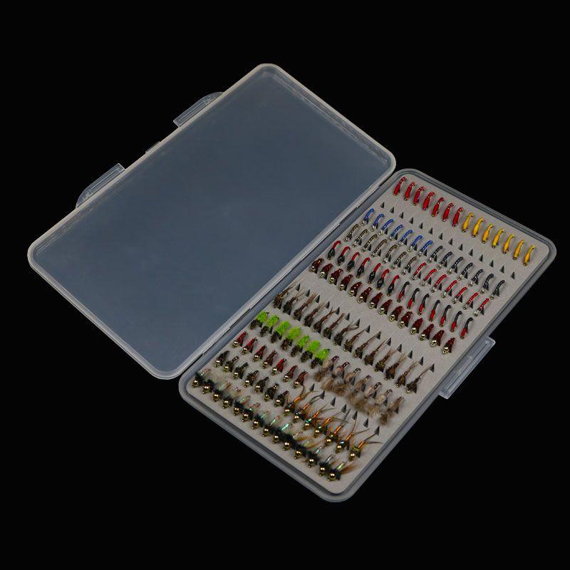 133PCS/Set Ultra-thin Portable Nymph Scud Midge Fly Fishing Flies Slim Box Set for Fly Fishing Trout Baits