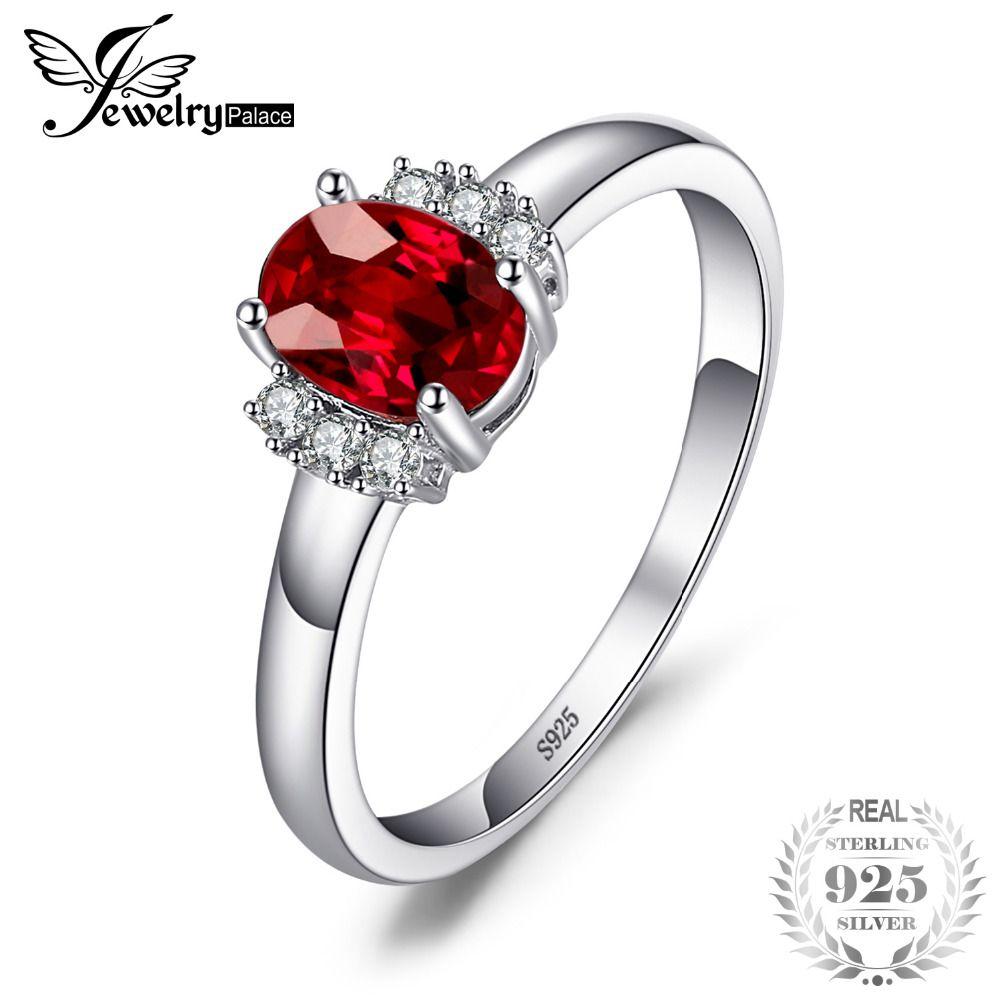 JewelryPalace 1.1ct Ovale Naturel Rouge Grenat Anneau 100% Réel 925 Sterling Argent bagues de fiançailles pour les Femmes beaux bijoux cadeau
