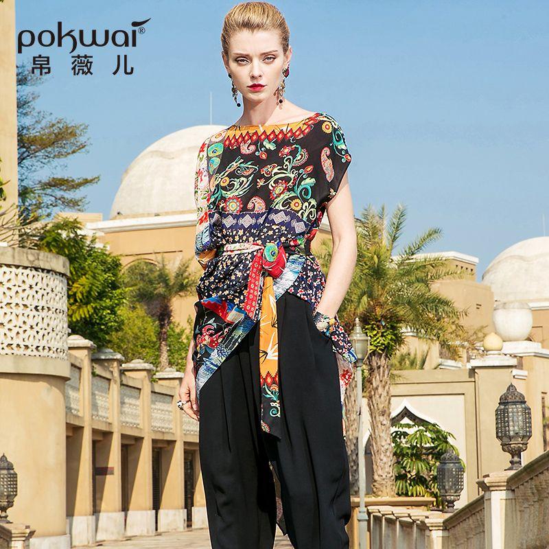 POKWAI Vintage Floral Asymmetrical Summer Silk Dress Women 2018 New Fashion High Quality Short Batwing Sleeve Slash Neck Dresses