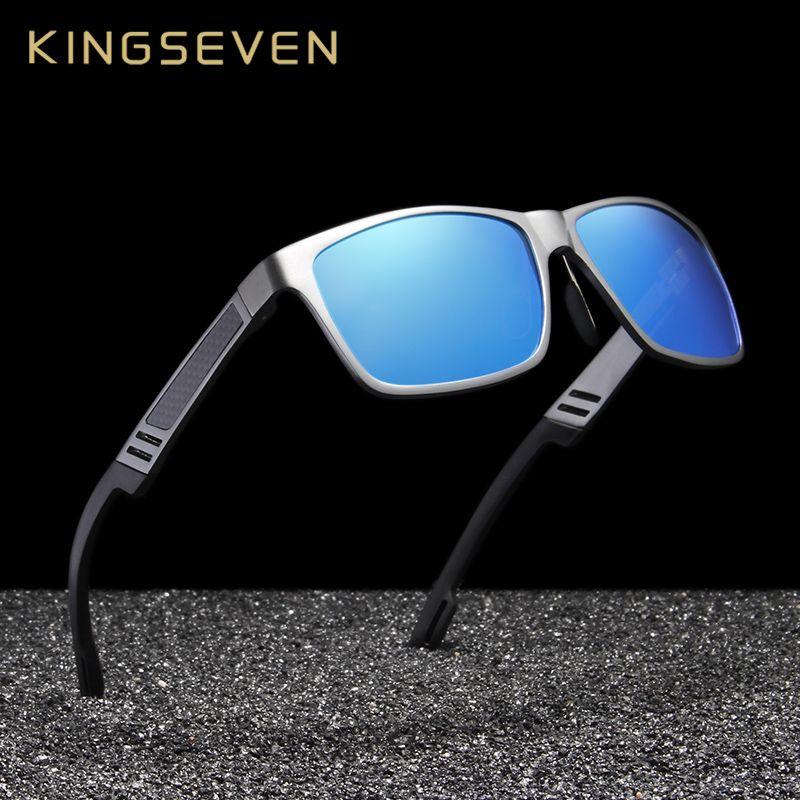 KINGSEVEN Unisex Aluminum Square Men/<font><b>Women</b></font> HD Polarized Mirror UV400 Sun Glasses Eyewear Sunglasses For Men oculos de sol