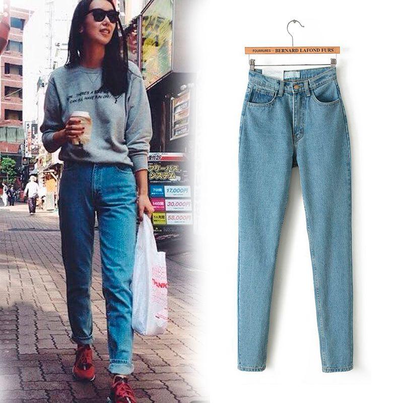2017 New Slim straight Pants Vintage High Waist Jeans new womens pants full length pants loose cowboy pants