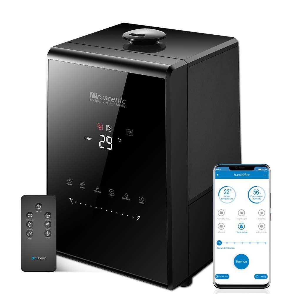 Proscenic 807C 5.5L Warme und Kühlen Nebel Ultraschall Luftbefeuchter für Schlafzimmer und Babys, Verdampfer mit APP und Aleax Control