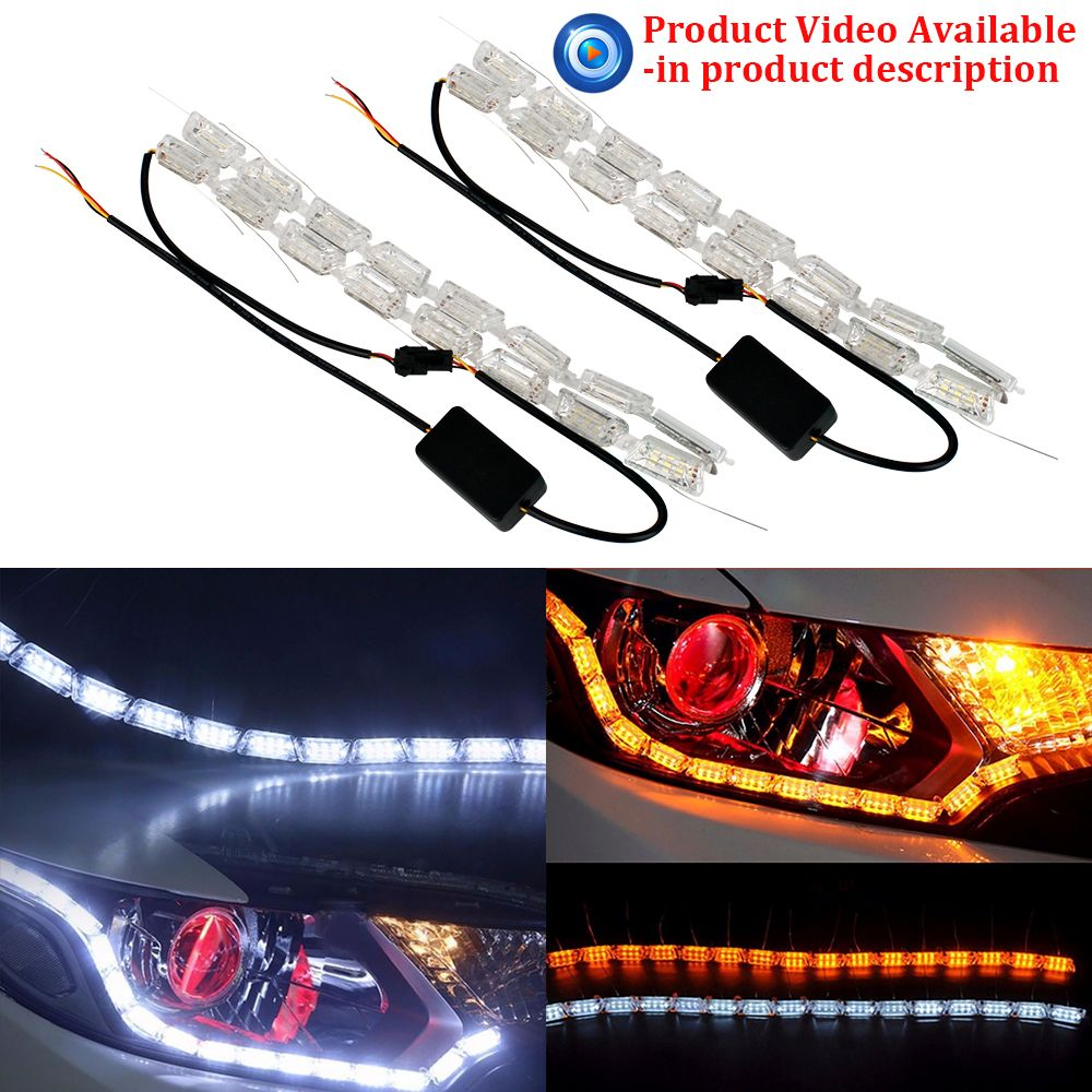 2x Car Flexible Car-Styling 16LED Knight Rider Strip Light for Headlight Sequential Flasher DRL Flowing Amber Turn Signal Lights