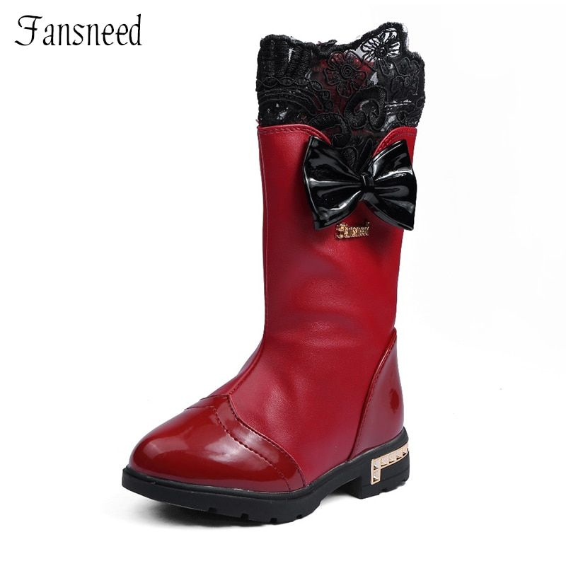2018 Autumn and winter girls boots children princess shoes child cotton-padded shoes <font><b>snow</b></font> boots high boots