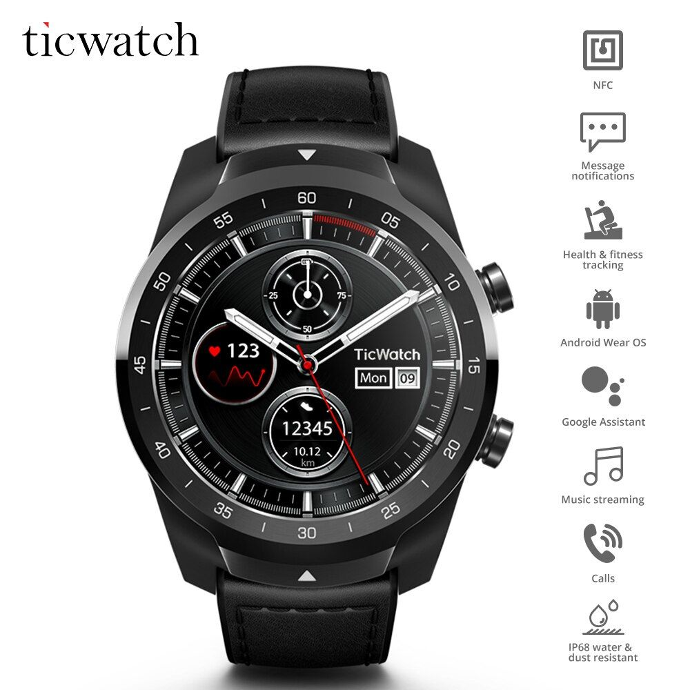 Original Ticwatch Pro Bluetooth Smart Uhr IP68 Layered Display unterstützung NFC Zahlungen/Google Assistent Tragen OS durch Google 415 mAH