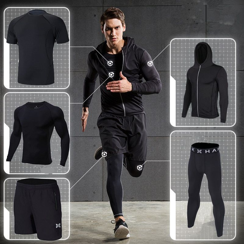 2018 sports running suit men Workout Tights fitness clothing sets quick dry hood basketball soccer gym training jogging suits