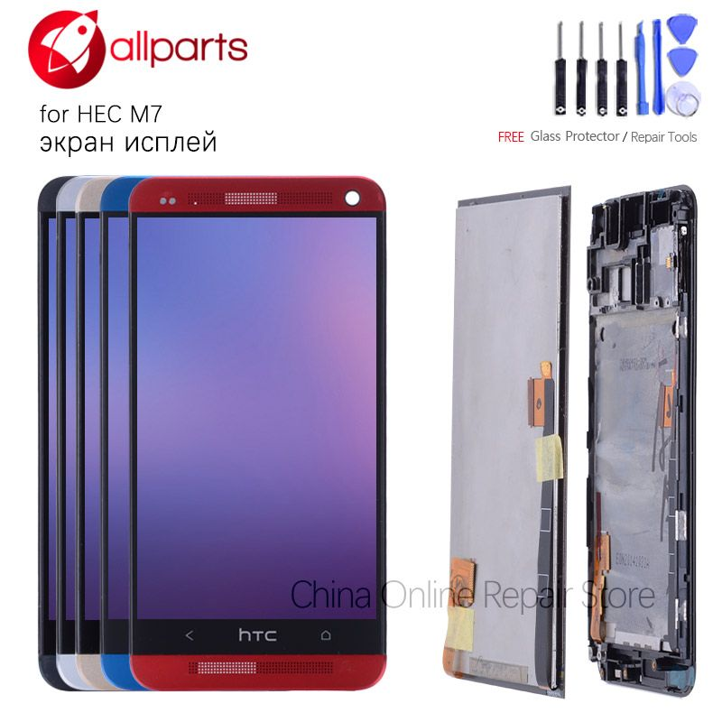 Original <font><b>4.7</b></font> '' Display For HTC ONE M7 LCD Touch Screen for HTC ONE M7 Display Digitizer 801e Black Red Gold Blue Silver