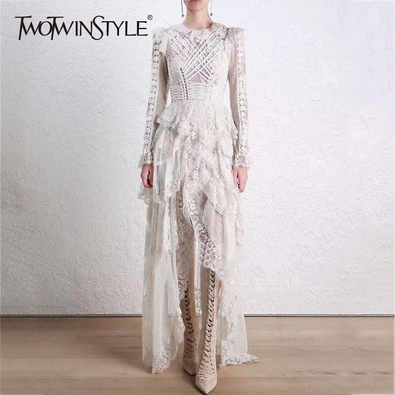 TWOTWINSTYLE Lace Long Dress For Women Lace Up High Waist Hollow Out Irregular Party Dresses Summer Fashion Elegant Clothing
