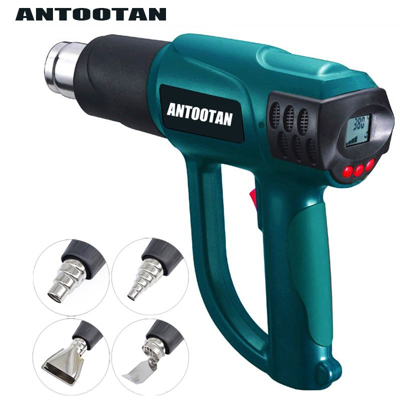 2000W 220V EU Plug Smart Control Industrial Heat Gun Shrink Wrapping Heater Nozzle Thermoregulator LCD Display Hot Air