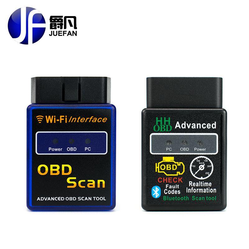 Juefan профессии Wi-Fi Bluetooth OBD2 Интерфейс сканер ELM 327 obd ii поддерживает Android IOS ПК Системы OBD2 инструмент диагностики