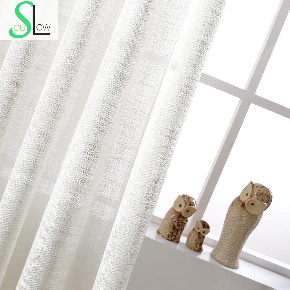 Blanc Coton Texture Américain Pays Style Décoratif Tissu Rideau Français Tulle Rideaux Pour Salon Cortinas Sheer Tulle