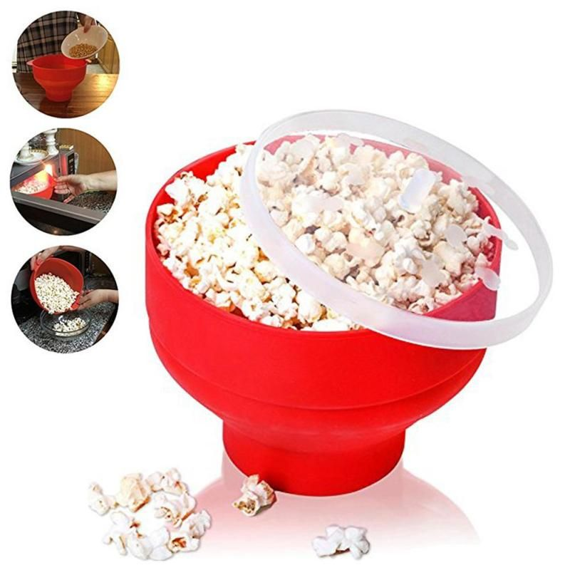 Microwaveable Popcorn Maker Pop Corn Bowl With Lid Microwave Safe New Kitchen Bakingwares DIY Popcorn Bucket A20