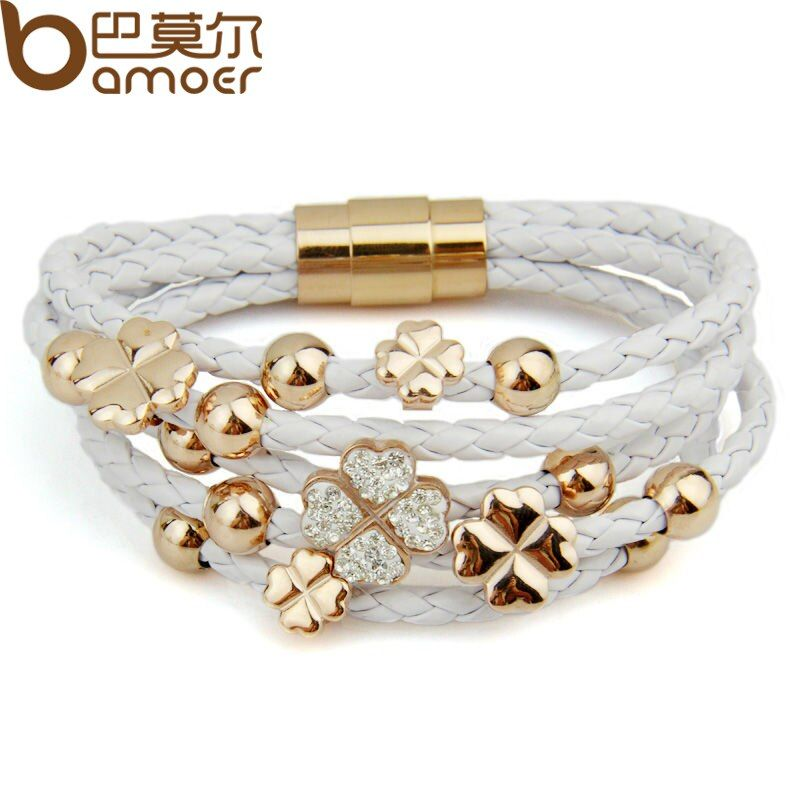 BAMOER Hot Sell Wrap Leather Rose Gold Color Bracelet for Women Leaf Clover Crystal Charm Jewelry PI0697