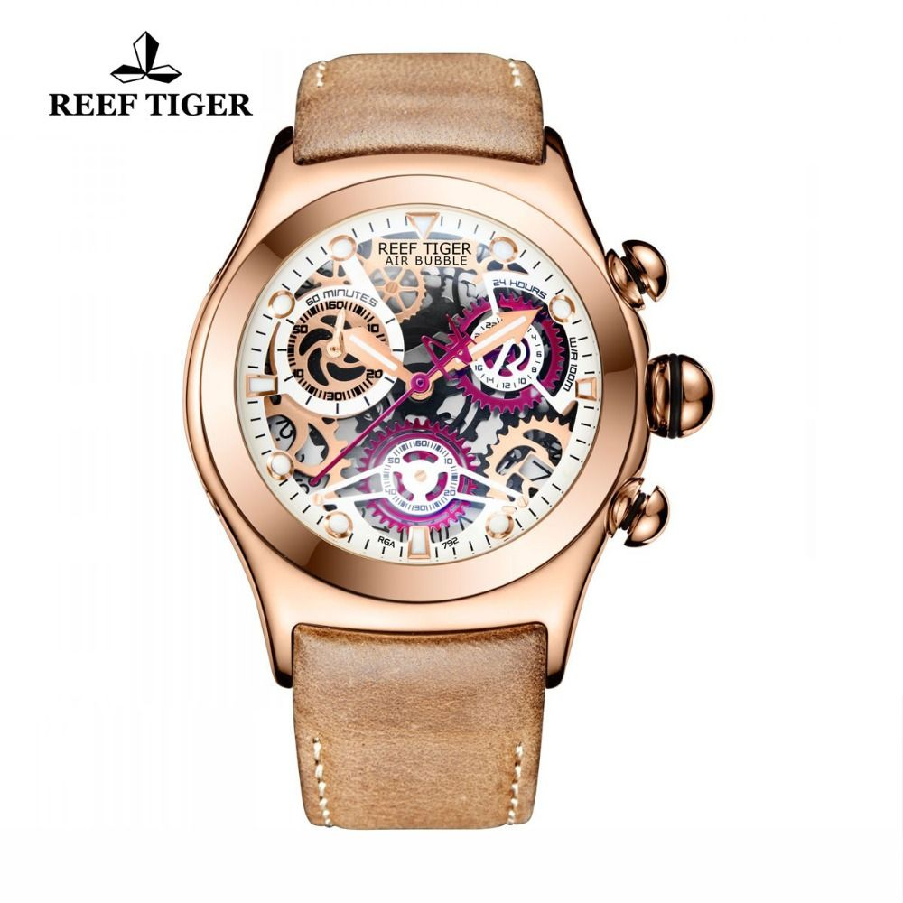Reef Tiger/RT Chronograph Sport Watches for Men Skeleton Dial with Date Three Counters Luminous Rose Gold Unique Watches RGA792