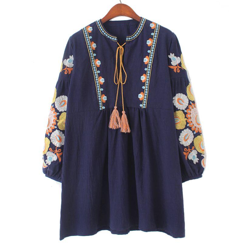 Nouveau coton avec gland bohème boho blouses lâche motif large fit broderie sur la manche avec des fleurs en gros
