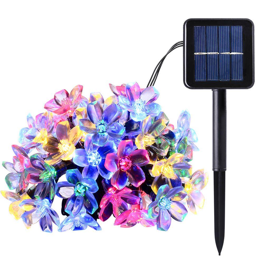New 50 LEDS 7M Peach Ledertek Flower Solar Lamp Power LED String <font><b>Fairy</b></font> Lights Solar Garlands Garden Christmas Decor For Outdoor