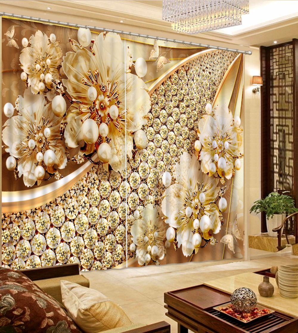 Luxury 3D Curtains Window Decoration Background 3D Curtains For Living room Bedroom Beautiful jewelry Curtains