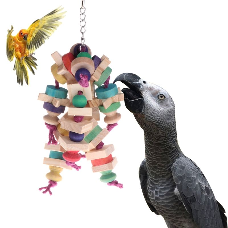 Pet Parrot Toy Chewing Bite Strands Colorful Wooden Beads Bird Parakeet Hanging Cage Bird Toy