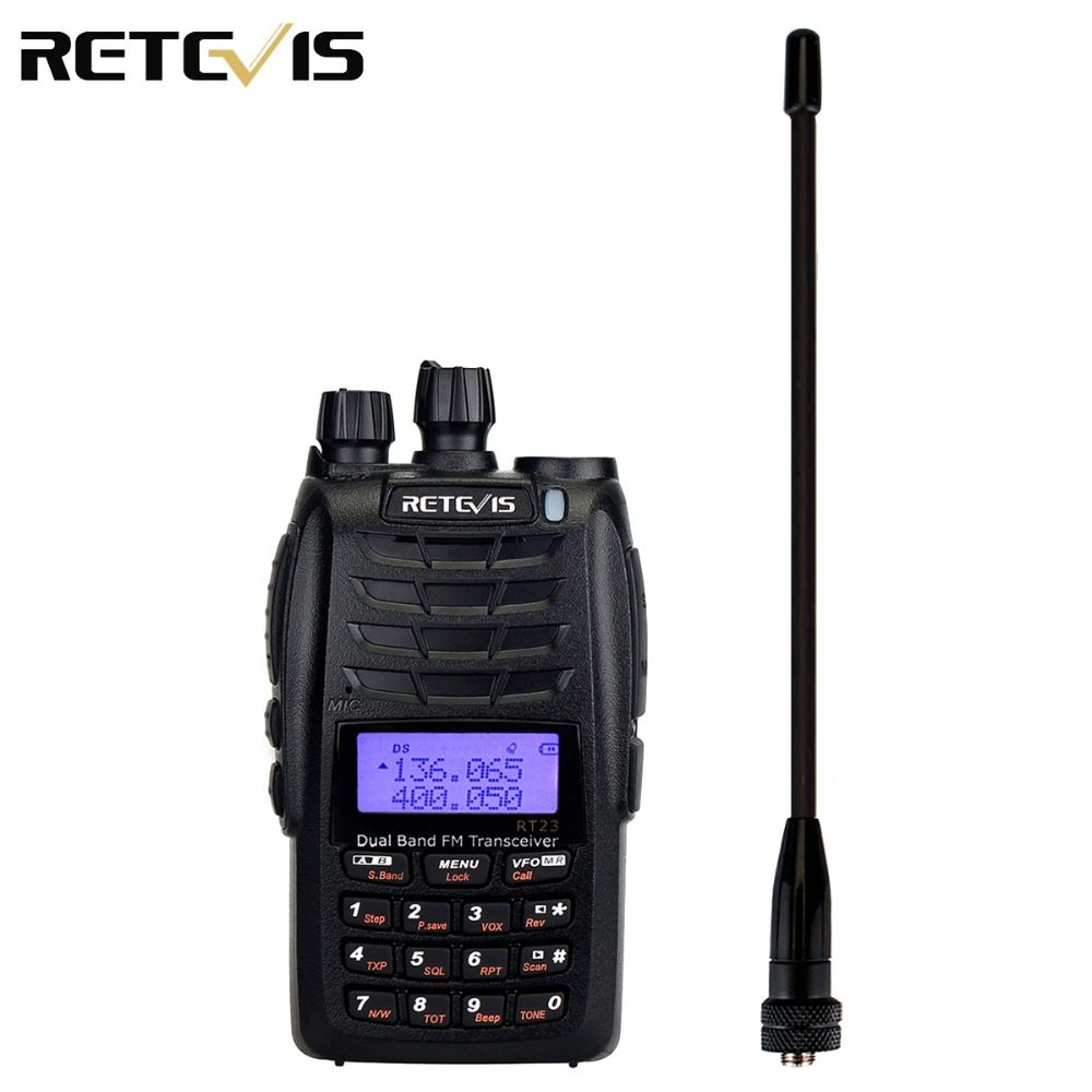 Retevis RT23 Walkie Talkie Cross-Band Repeater UHF+VHF 136-174+400-480Mhz Dual PTT Dual Receive 1750Hz 1600mAh Ham Radio A9122A