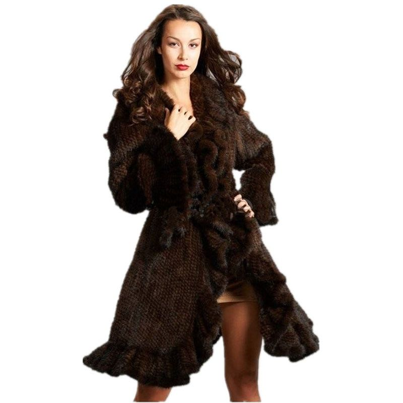 Luxus Frauen Echter nerz rüschen design Strick Nerzpelzmantel Jacken Natürliche fell Oberbekleidung Mantel Lange weibliche
