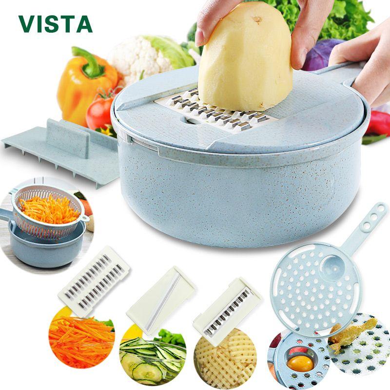 Mandoline trancheuse trancheuse de légumes éplucheur de pommes de terre carotte oignon râpe avec passoire coupe-légumes 8 en 1 accessoires de cuisine