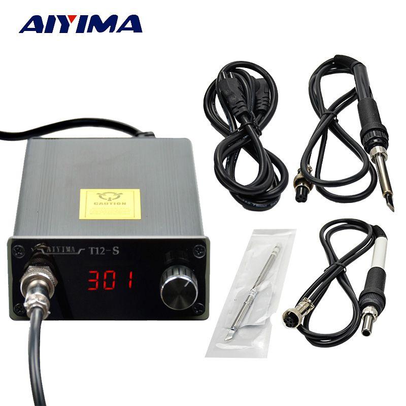 Aiyima 110 v 220 v T12 Thermostatique Numérique Station de Fer À Souder Température Contrôleur Compatible avec 936 Poignée 72 w de L'UE prise