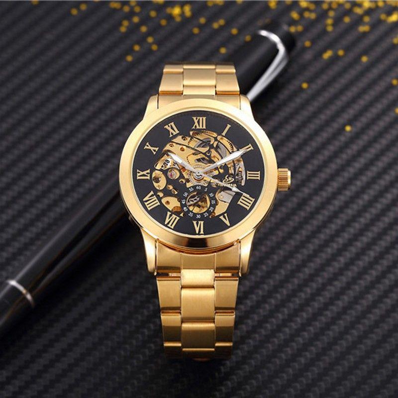 Homme montres automatique mécanique montres hommes luxe mode creux cadran or chiffre romain montre décontracté en acier inoxydable horloge
