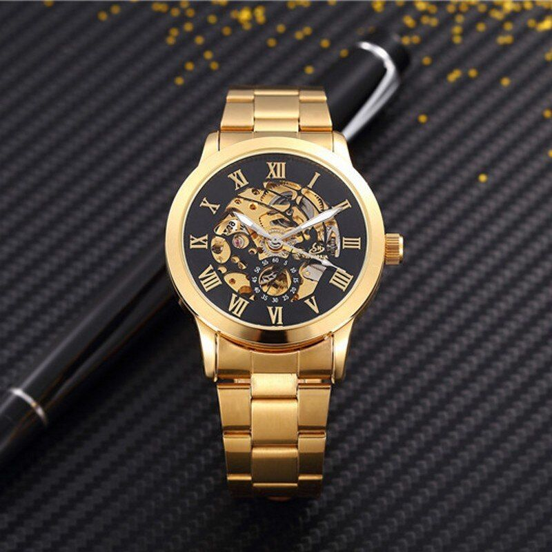 Man Watches Automatic Mechanical Watches men luxury fashion Hollow dial Gold Roman Numeral Watch Casual Stainless Steel clock