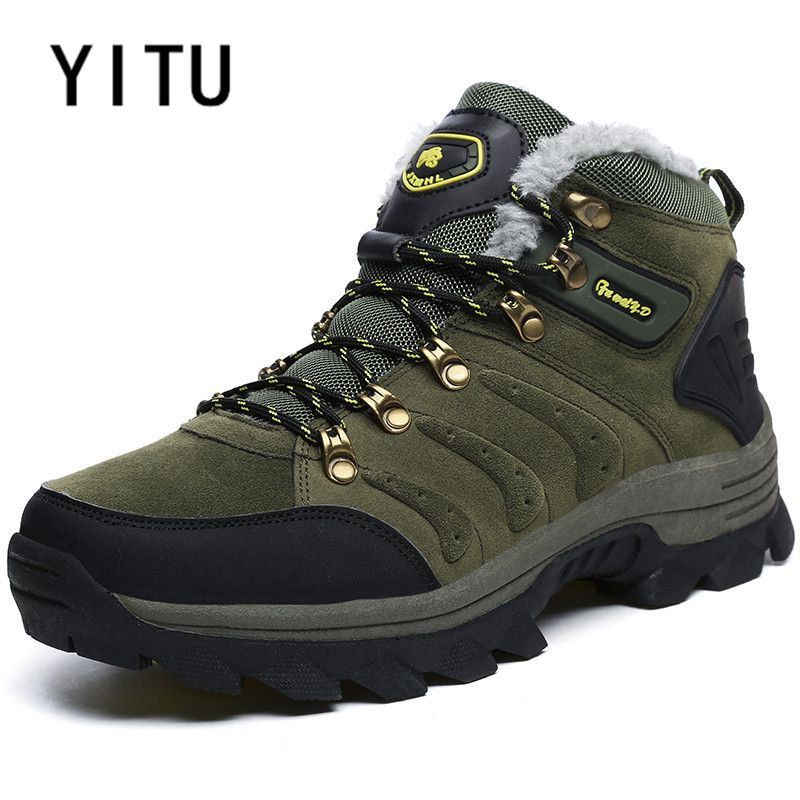 YITU Trekking Sneakers Winter Fur Leather Hiking Shoes For Men Snow Camping Climbing Mountain Sneakers Hunting Walking Antiskid
