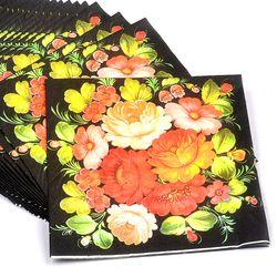Новые высококлассные винтажные черные цветочные бумажные салфетки кафе вечерние салфетки для салфеток украшение в технике декупажа бумаг...
