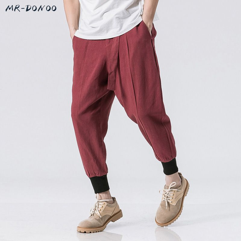 MRDONOO Summer Linen Cotton Men Casual Korean small feet Harem Pants Chinese Style Loose Male Trousers Size M-5XL B375-K52
