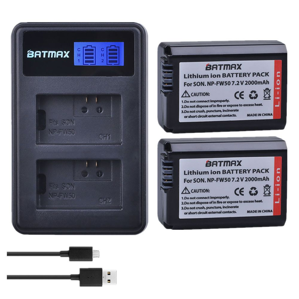 Batmax 2Pc NP-FW50 NP FW50 npfw50 Batterie akku + LCD Dual USB Ladegerät für Sony Alpha a6500 a6400 a6300 a6000 a5000 a3000 NEX-3 a7R