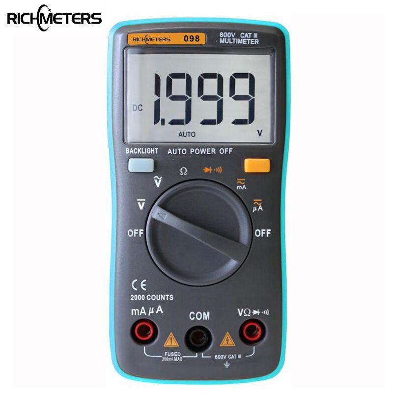 Rm098 Цифровой мультиметр 2000 отсчетов Подсветка AC/DC Амперметр Напряжение Вольтметр Ом Портативный метр