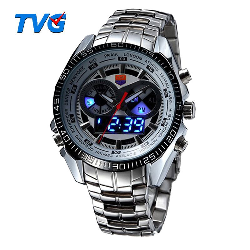 Chaude TVG mâle sport montre hommes en acier inoxydable étanche Quartz-montre numérique Led analogique double affichage hommes montres