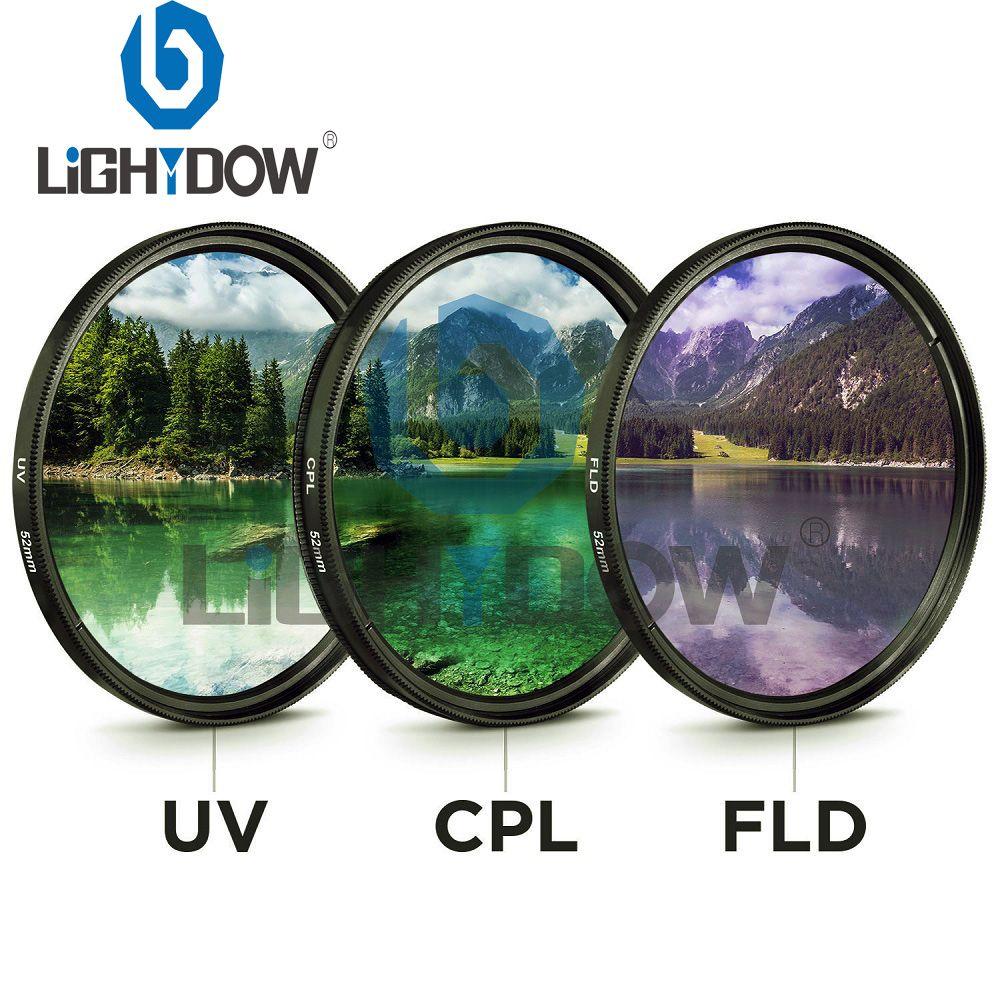 49 MM 52 MM 55 MM 58 MM 62 MM 67 MM 72 MM 77 MM UV + CPL + FLD 3 en 1 objectif filtre Set avec sac pour canon Nikon Sony Pentax objectif appareil photo