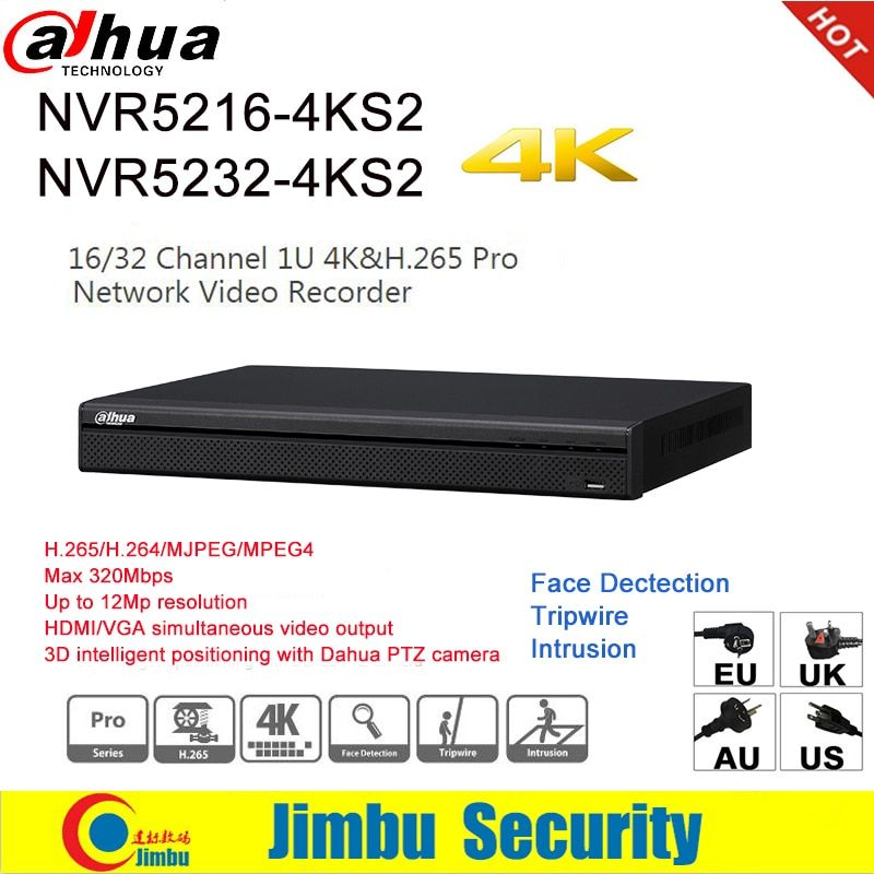 Dahua NVR 4K H.265 H.264 video recorder NVR5216-4KS2 16CH NVR5232-4KS2 32CH For IP Camera up to 12Mp resolution Tirpwire DVR