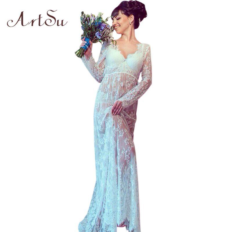 ArtSu Femmes 2017 Sexy Col V À Manches Longues Dentelle Robe D'été Floral Maxi Robes Mujer Plus Sexy Noir Blanc Rouge 4XL DR5046
