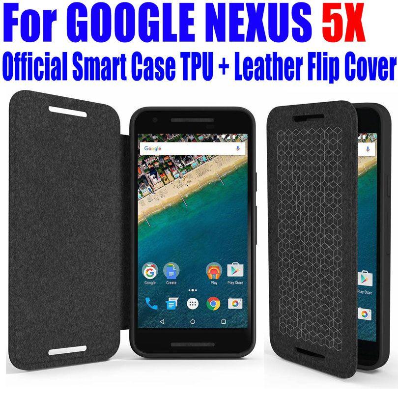 Pour GOOGLE NEXUS 5X Cas Officielle Meilleure Qualité Smart Case De Silicium TPU En Cuir flip Couverture pour LG NEXUS 5X + écran Film L5X4