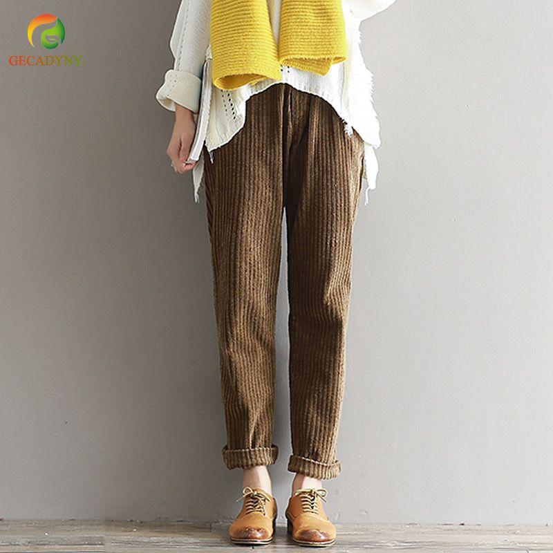 Plus Size S-3XL 2018 Women Corduroy Pants Autumn Winter Vintage Fashion Straight Trousers Casual Elastic Waist Harem Pants Girls