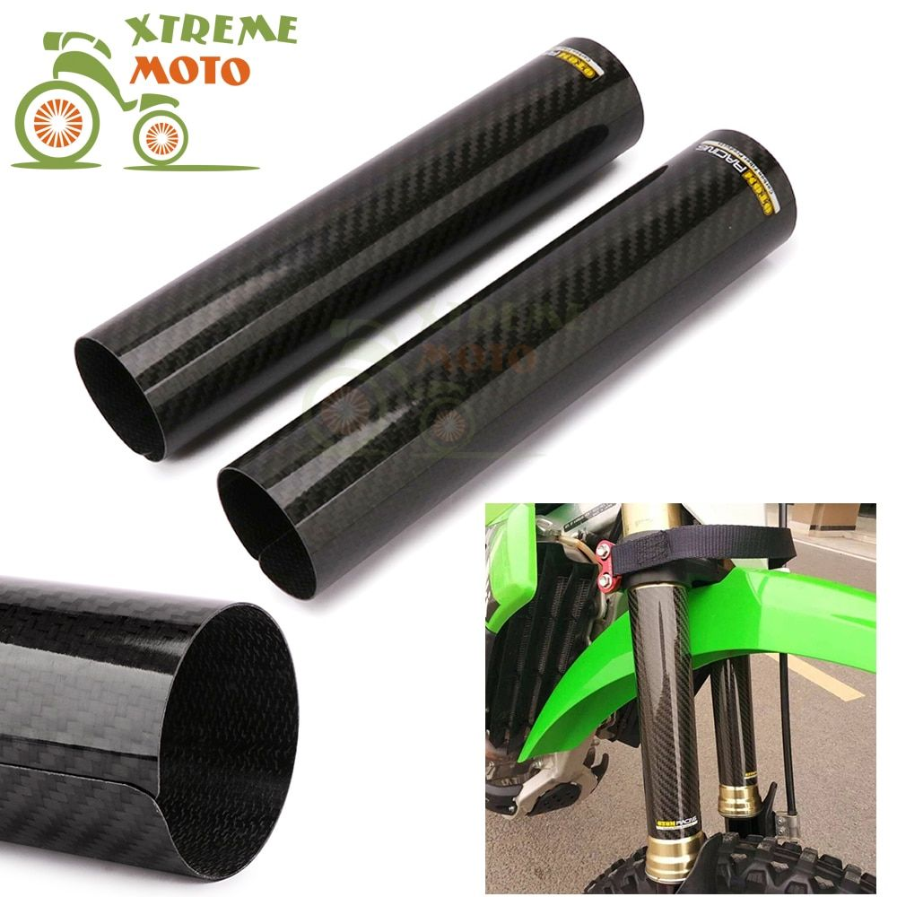 240*52mm Carbon Fiber Front Fork Shock Absorption Guard Wrap Cover For Motocross Honda KTM Kawassaki Suzuki Yamaha Dirt Bike