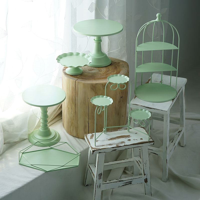 SWEETGO Green cake stand set 6 and 8 pieces cupcake trays dessert table suppliers perfume jewelry make up storage holders rack