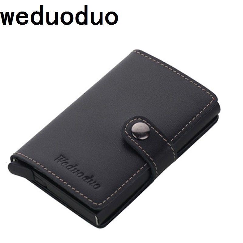 Weduoduo Пояса из натуральной кожи из металла Для мужчин держатель для Карт RFID алюминия высокого качества кредитной держатель для карт с RFID Бло...