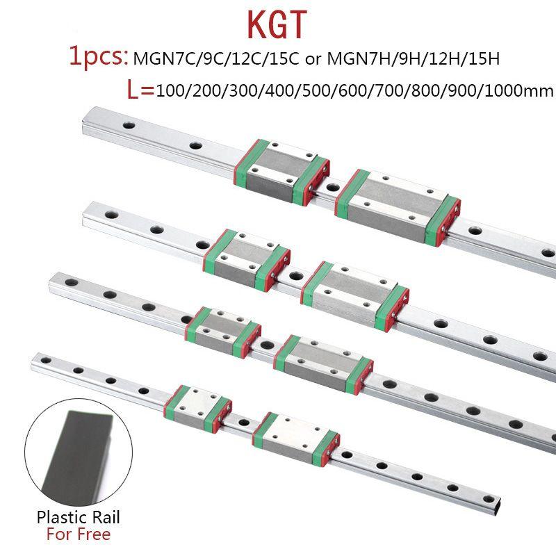 KGT 3D Imprimante MGN7 MGN12 MGN15 MGN9 L 100 350 400 500 600 800mm miniature rail linéaire diapositive 1 pièces MGN linéaire guide MGN transport