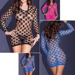 New Arrival Babydolls 2017 Women Sexy Lingerie Fishnet Dress Nightwear Intimate Sleepwear