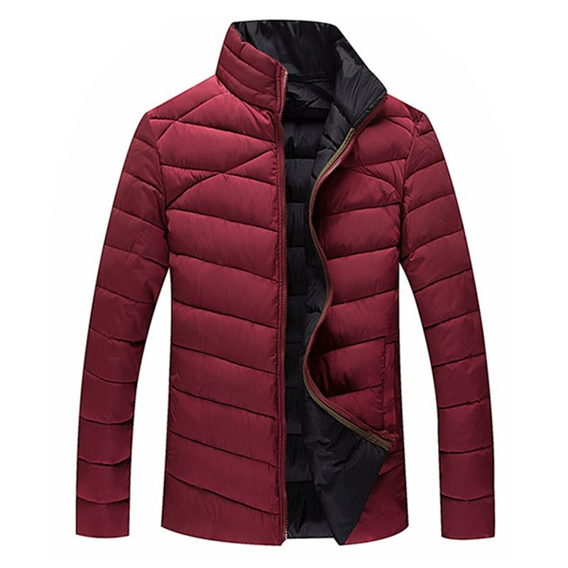 2017 Mens Slim Down Jackets Ooutwear Padded Zippers Coat WInter Jacket Men Casual Patchwork Warm Stand Collar Outwear Plus Size