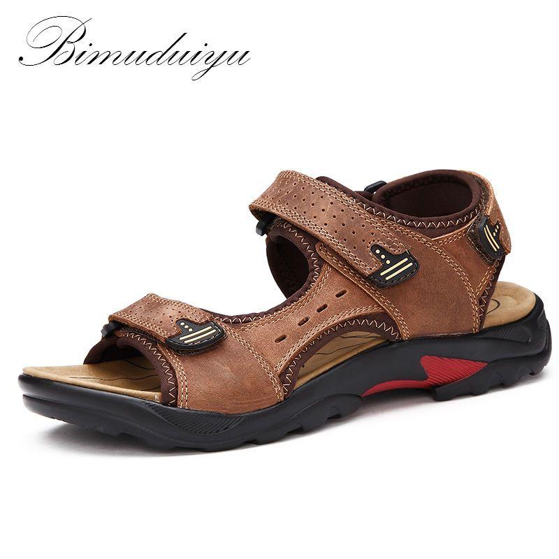 BIMUDUIYU qualité hommes sandales en cuir véritable mode été loisirs plage hommes chaussures décontractées grande taille 38-48 hommes sandale