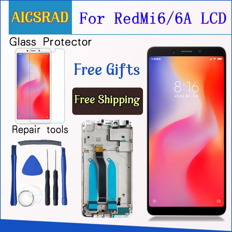 100% Tested LCD display For Xiaomi Redmi 6A 5.45 inch touch screen digitizer assembly For Redmi 6 With Frame Free Shipping